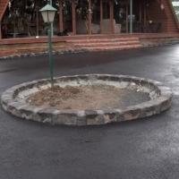 Blue stone edged asphalt