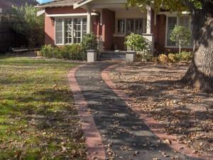 Brick edged asphalt pathway
